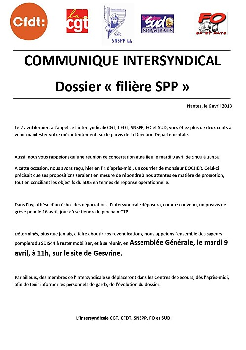 communiqué intersyndical du 9 avril