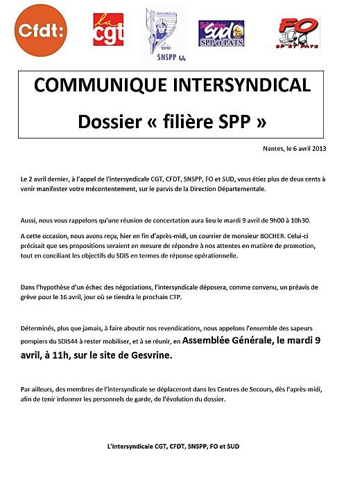 communiqué intersyndical du 9 avril